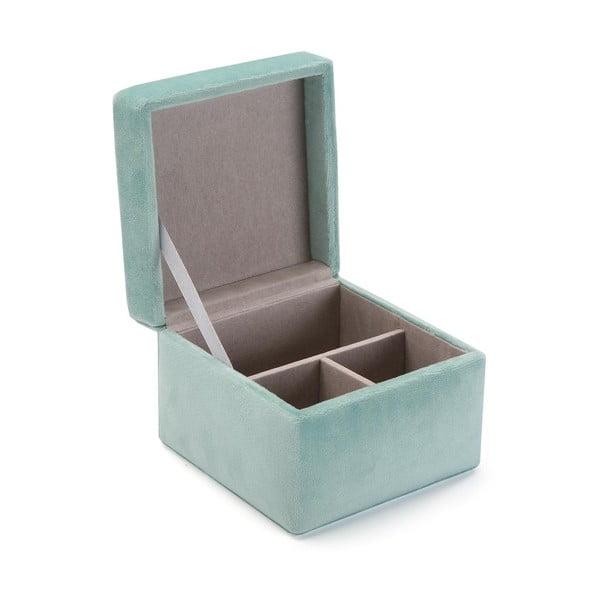 Jasnoturkusowa aksamitna szkatułka na biżuterię Versa Aquamarina
