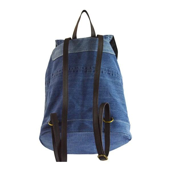 Niebieski plecak dżinsowy ze skórzanymi szelkami Chicca Borse Light