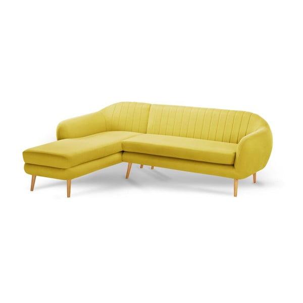 Żółty 3-osobowy narożnik lewostronny Scandi by Stella Cadente Maison
