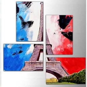 Czteroczęściowy obraz Color Eiffel, 76x76 cm