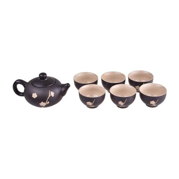 Zestaw czarnego dzbanka do herbaty i 6 kubków Bambum Fornia