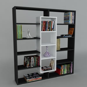 Biblioteczka Ample Black/White, 22x125x135,7 cm