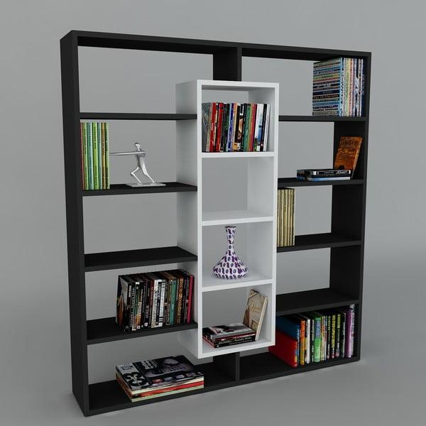 Biblioteczka Ample Black/White, 22x125x135,7 cm