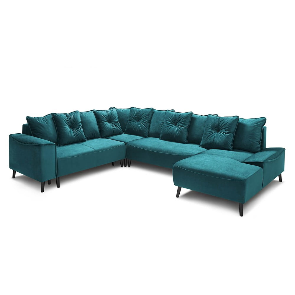 Morska sofa rozkładana z szezlongiem Bobochic Paris Panoramique XXL Hera Bis, prawostronna