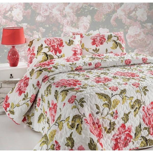 Narzuta na łóżko z poszewką na poduszkę Flower Pink, 160x220 cm