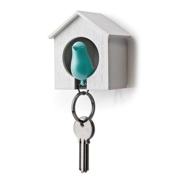 Budka z zawieszką na klucze QUALY Sparrow, biała/niebieska