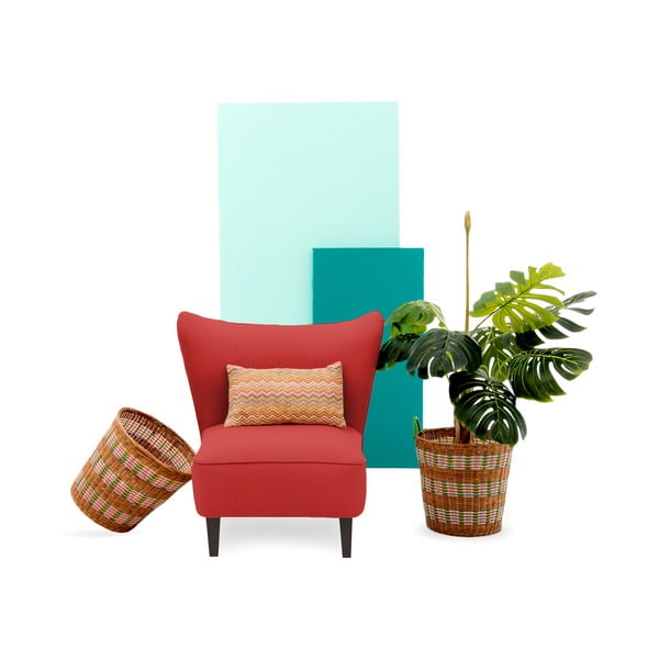 Czerwony fotel z ciemnymi nogami Vivonita Sandy