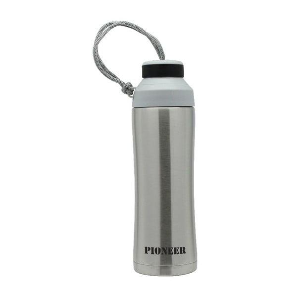 Srebrna butelka sportowa Pioneer, 450 ml