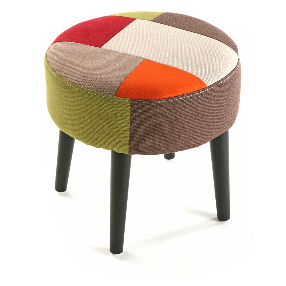 Taboret Red Patchwork, ⌀ 35 cm