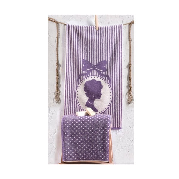 Zestaw 2 ręczników Bouguet Madam Damson, 50x90 cm i 90x145 cm