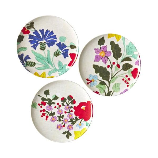 Zestaw 3 talerzy deserowych  Flowers