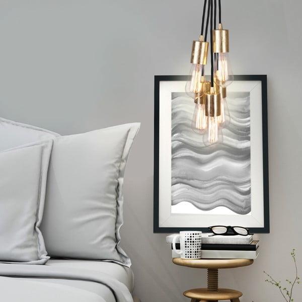 Czarna pięcioramienna lampa wisząca ze złotą oprawką Bulb Attack Cero Group