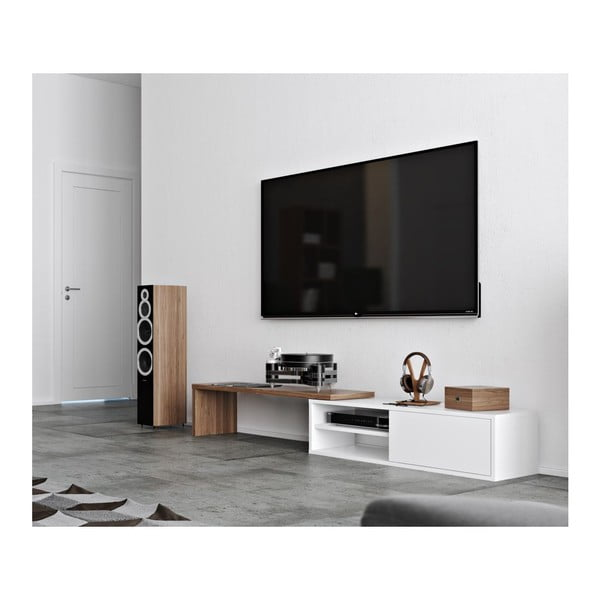 Biały stolik pod TV Move Walnut
