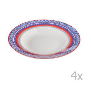 Komplet 4 talerzy porcelanowych na zupę Oilily 24,5 cm, niebieski