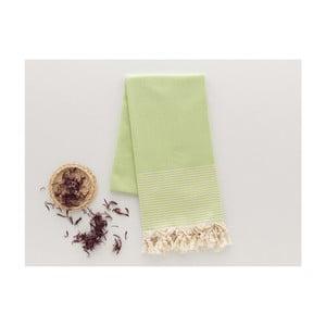 Zielony ręcznik Hammam Bal Petergi, 100x180cm
