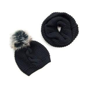Komplet czarny szalik i czapka Art of Polo Audhild