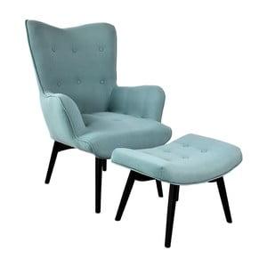 Fotel z podnóżkiem Ordinary, turkusowy