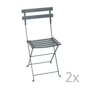 Zestaw 2 ciemnoszarych krzeseł składanych Fermob Bistro