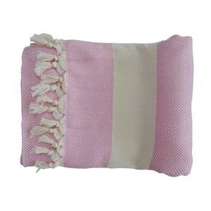 Różowy ręcznie tkany ręcznik z bawełny premium Lidya,100x180 cm