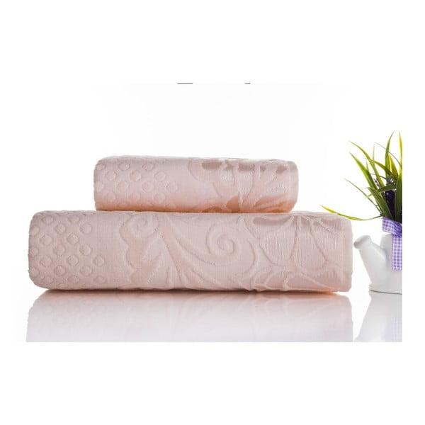 Zestaw 2 ręczników Kumsal Light Powder, 50x90 cm i 70x140 cm