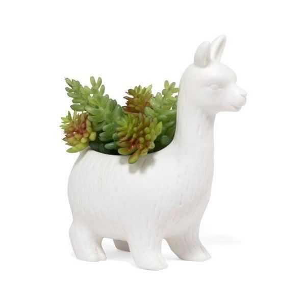 Biała doniczka porcelanowa w kształcie lamy Kikkerland Llama