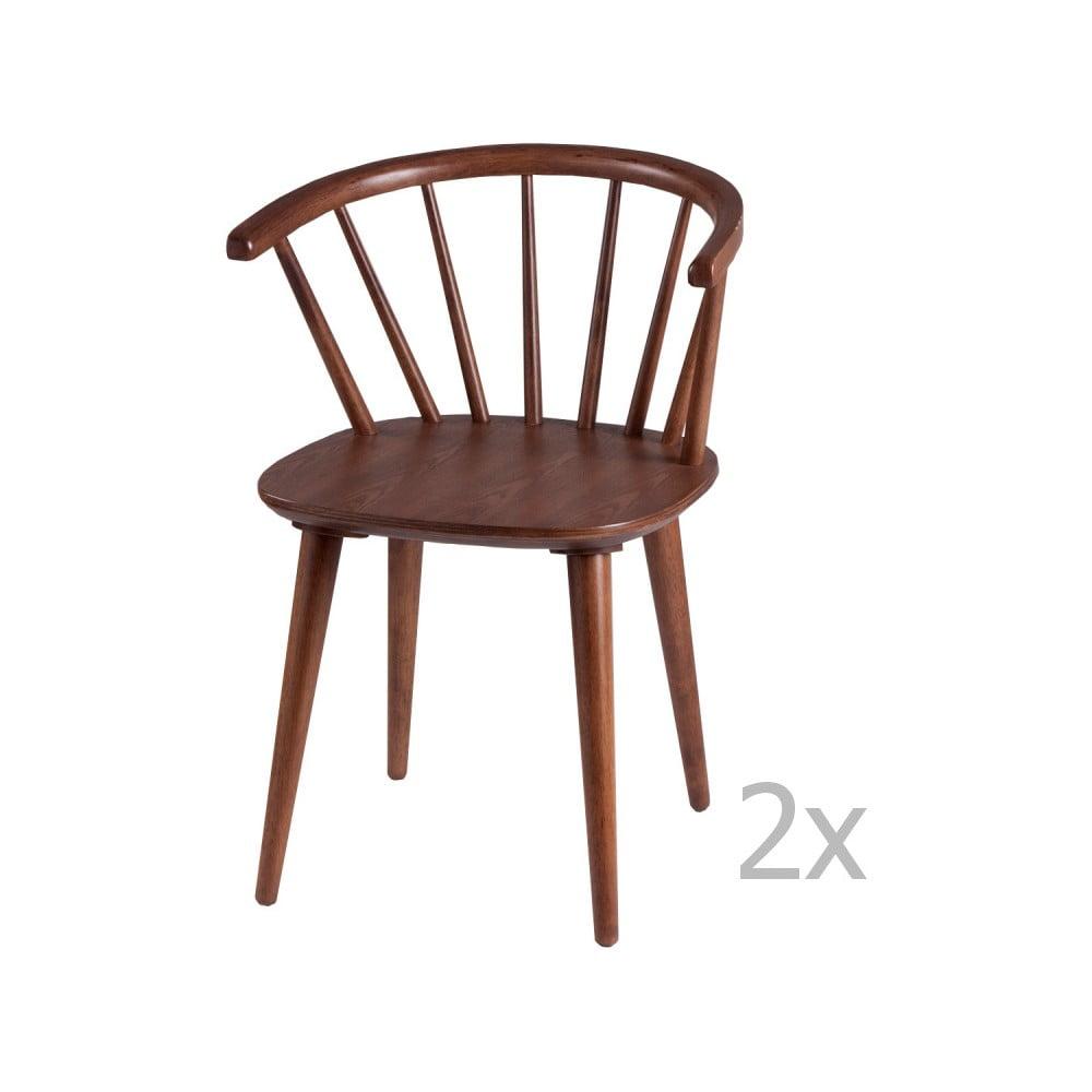 Zestaw 2 krzeseł w dekorze drewna orzechowego sømcasa Anya