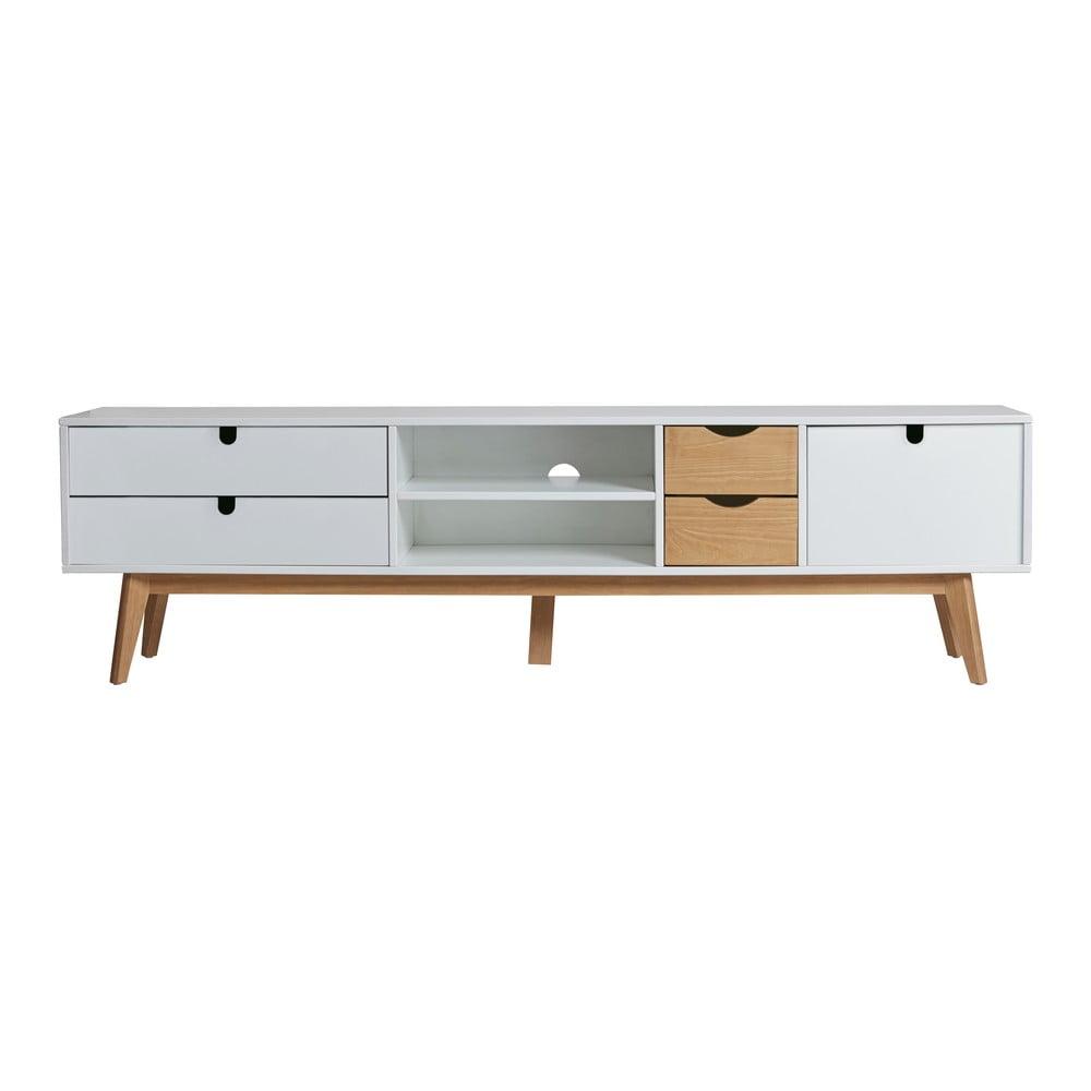 Szafka pod TV z białymi detalami Marckeric Mila, 180x37 cm