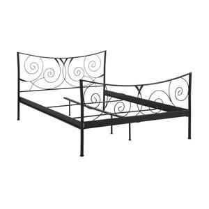 Czarne łóżko metalowe dwuosobowe Støraa Isabelle, 140x200cm