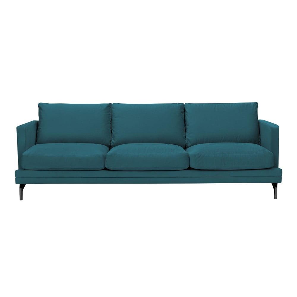 Turkusowa sofa 3-osobowa z czarną konstrukcją Windsor & Co Sofas Jupiter