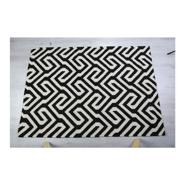 Dywan wełniany Geometry Modern Black & White, 160x230 cm