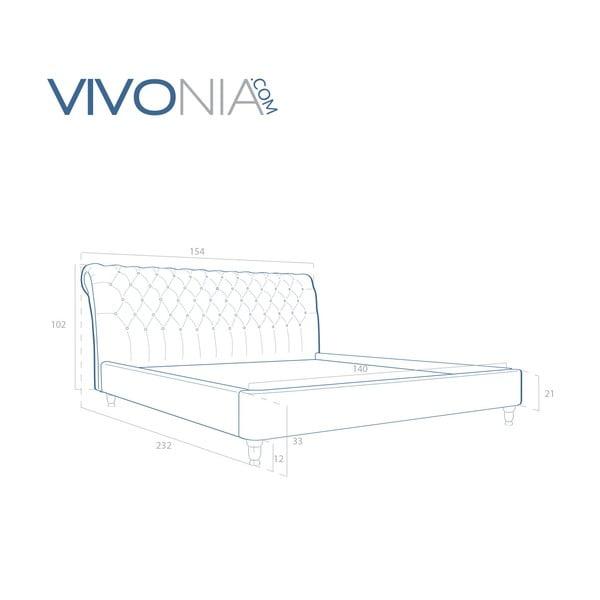 Pastelowo różowe łóżko z naturalnymi nóżkami Vivonita Allon, 140x200 cm