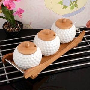 Taca bambusowa z 3 pojemnikami na przyprawy Karlos