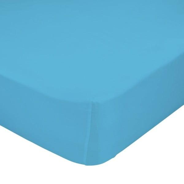 Turkusowe elastyczne prześcieradło HF Living Basic, 90x200 cm