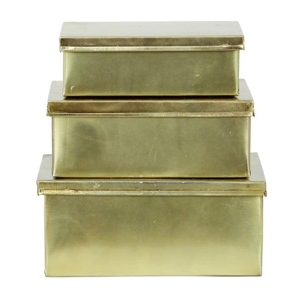 Zestaw 3 blaszanych pojemników Brass