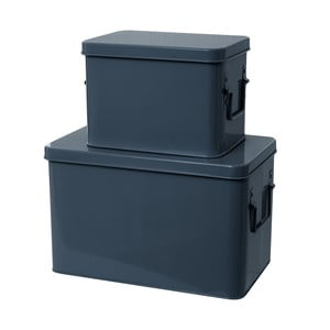 Komplet 2 pudełek Present Time Metal Blue