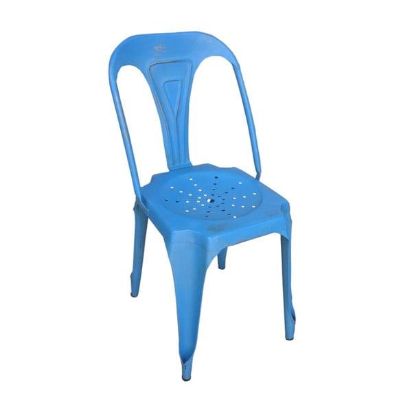 Metalowe krzesło retro Sofian, niebieskie