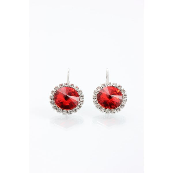 Kolczyki Laura Bruni ze Swarovski Elements Red, 16 mm