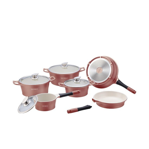 10-częściowy ceramiczny komplet garnków i patelni Die Cast, miedziany kolor