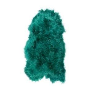 Zielona skóra owcza z długim włosiem, 100x55 cm