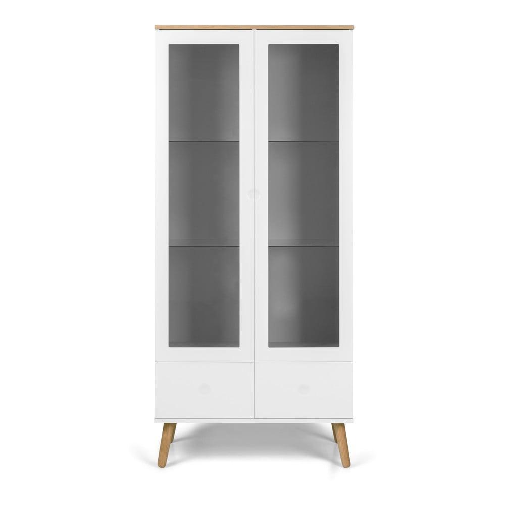 Biała witryna z detalami w dekorze drewna dębowego Tenzo Dot, wys. 175 cm