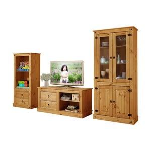 Zestaw 3 mebli do salonu z drewna sosnowego Støraa Alberto