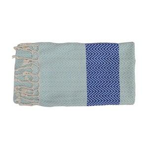 Jasnoniebieski ręcznie tkany ręcznik z bawełny premium Damla,100x180 cm