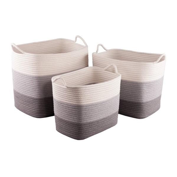 Komplet 3 kwadratowych koszyków bawełnianych Nil
