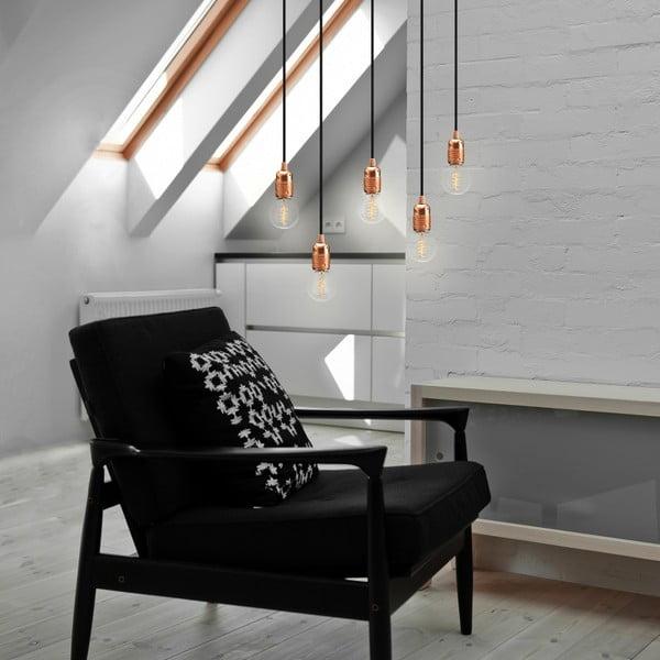 Lampa wisząca z 5 czarnymi kablami i oprawą żarówki w kolorze miedzi Bulb Attack Uno