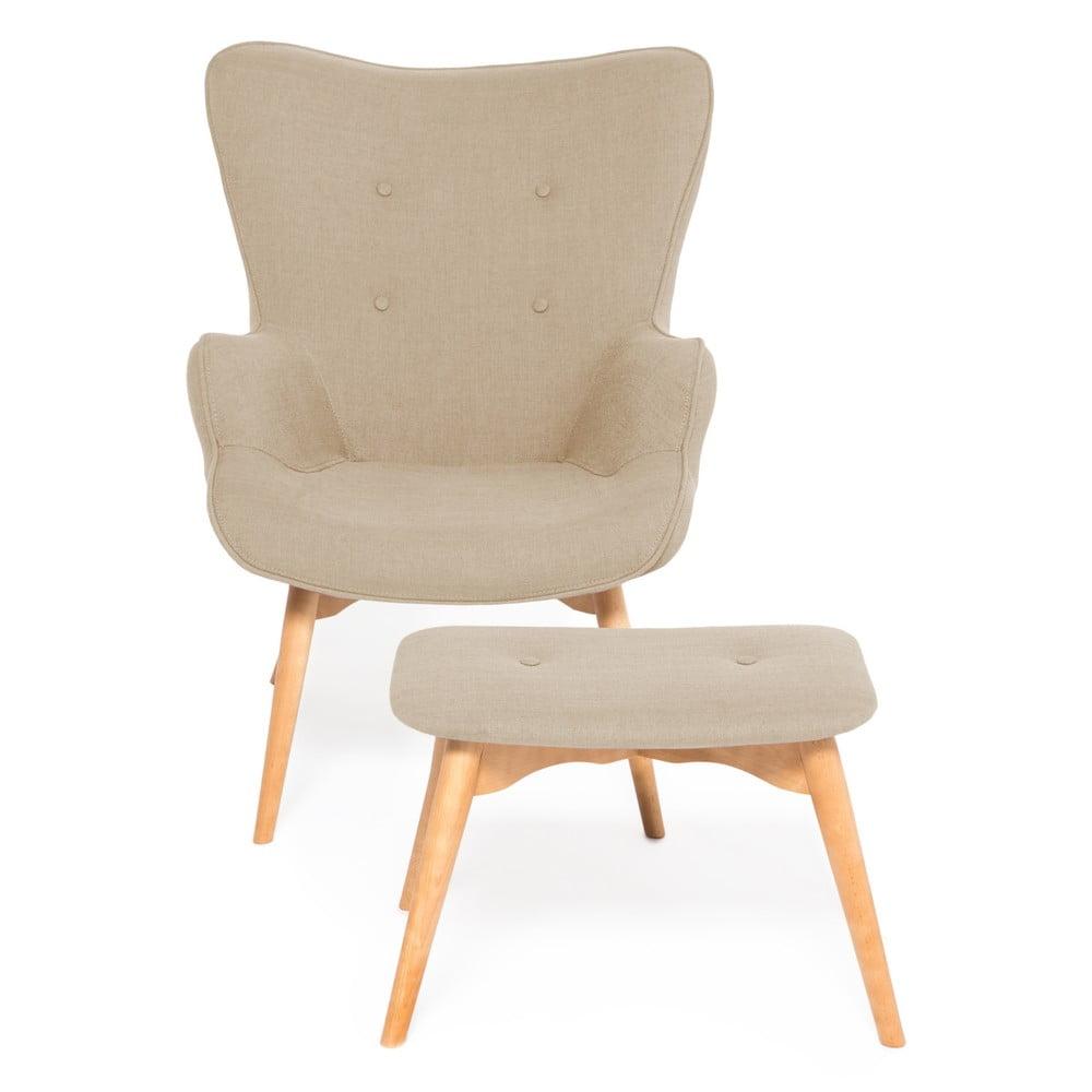 Beżowy fotel z podnóżkiem Vivonita Cora Velver