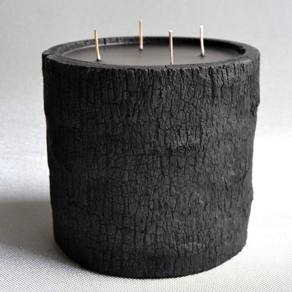 Palmowa świeczka Legno Dark o zapachu lilii wodnej, 180 godzin palenia