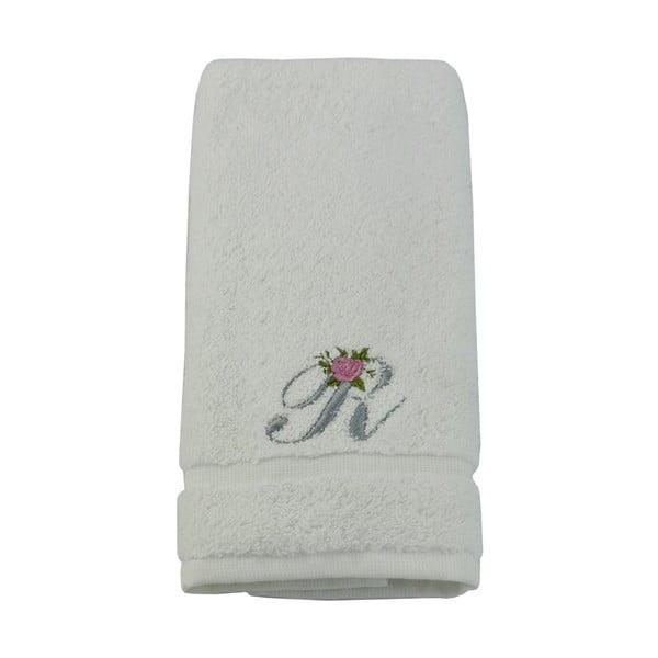 Ręcznik z inicjałem i różyczką R, 30x50 cm