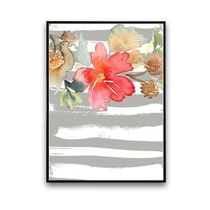 Plakat z kwiatem, szaro-białe tło, 30 x 40 cm