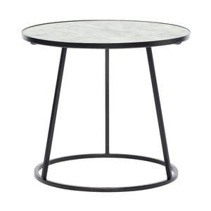 Czarny stolik z białym marmurowym blatem Hübsch Dana