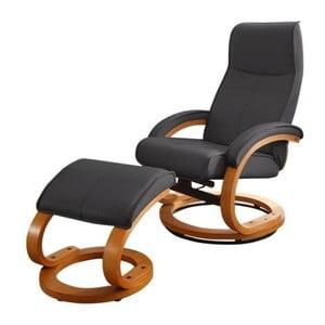 Czarny regulowany fotel skórzany z podnóżkiem Støraa Rika